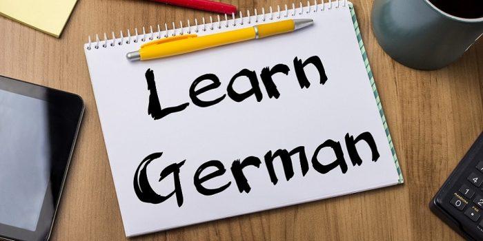 Learn german written on a book